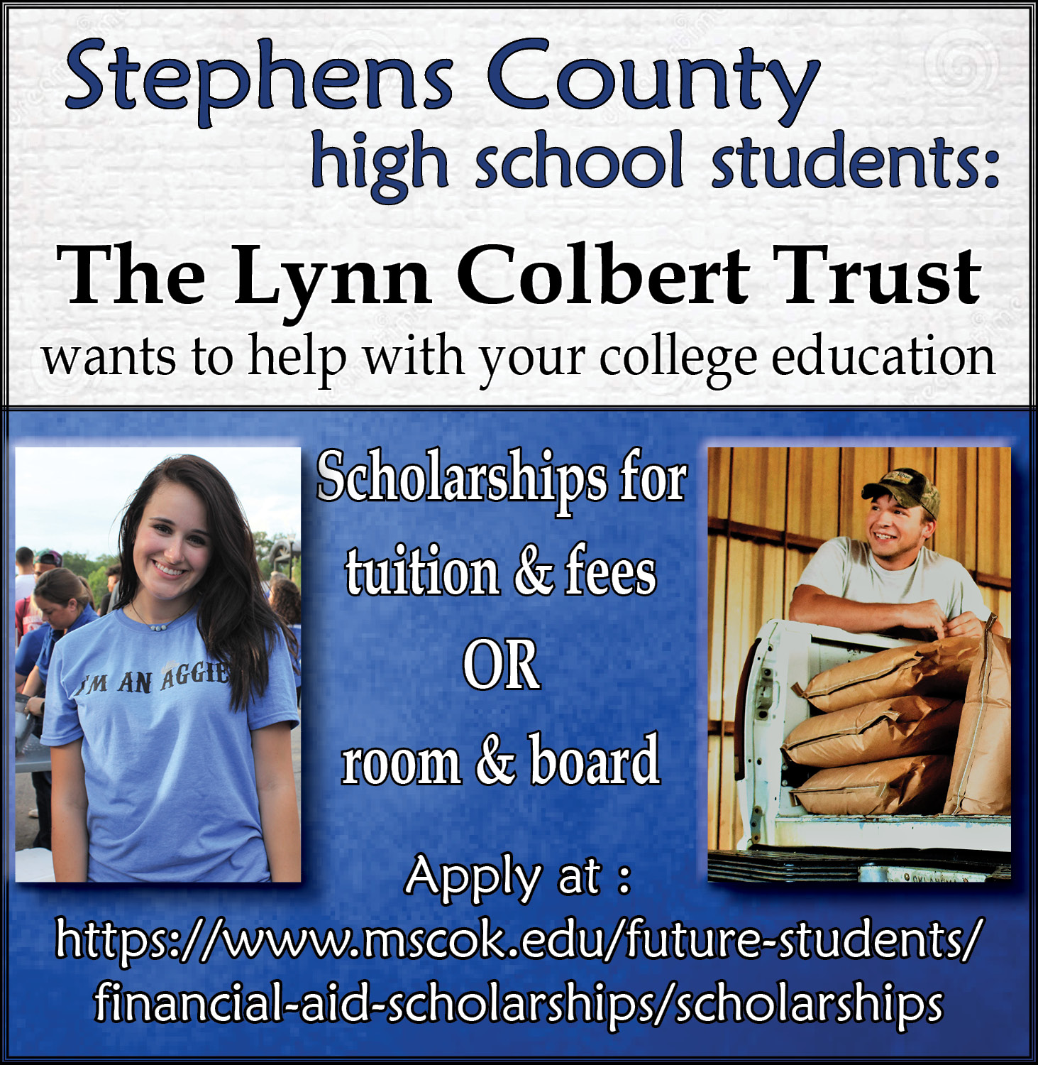 Lynn Colbert Scholarships available for Stephens County students at Murray State