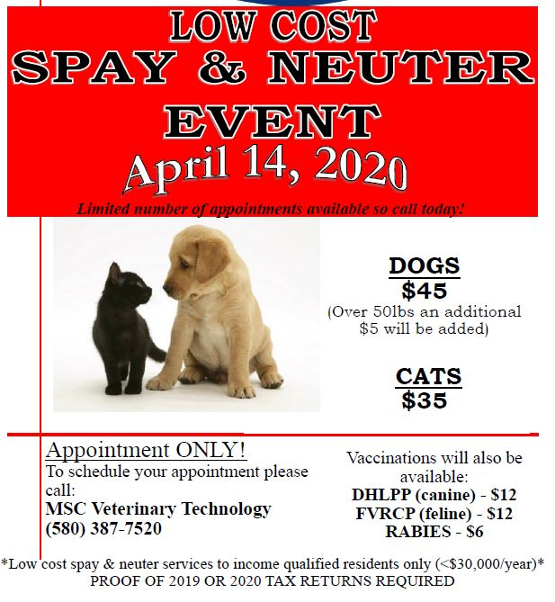 Murray State College Veterinary Nursing to host Johnston County pet spay day on April 14